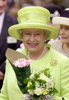 Queen Elizabeth, 2002. Queen Elizabeth is smiling in this picture.