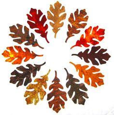OAK LEAVES, Leaves, Leaf Appliques, cotton, assorted, Iron on, Fused 100% premium cotton fabric, Precision die cut, 16 gorgeous MAPLE leaves... $7
