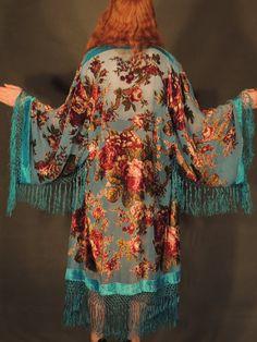 Sweetheart SILK long Lrg KIMONO Turquoise burnout by Andeebird