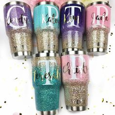 Ombre Glitter YETI - Here's a look at The Sparkle Stand's most popular decal style right now Metallic Full Name Script on Top of a White Initial Diy Tumblers, Custom Tumblers, Glitter Tumblers, Personalized Tumblers, Vaso Yeti, Tumblr Cup, Custom Cups, Glitter Cups, Glitter Hair