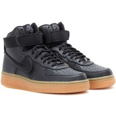 Nike Nike Air Force 1 Hi SE Leather High-Top Sneakers (365 RON) ❤ liked on Polyvore featuring shoes, sneakers, nike, sapato, black, black leather shoes, black high top shoes, leather sneakers, black sneakers and black leather high tops