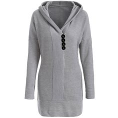 Knitted Hooded Buttoned Longline Sweater, GRAY, XL in Sweaters & Cardigans | DressLily.com