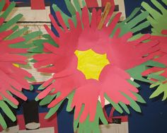 Christmas in Mexico - Poinsettia - 8 hands of green and red, yellow in the middle on a paper plate