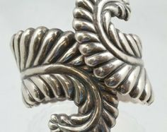 40s Sterling Silver Taxco Huge Leaf / Feather Cuff Bracelet