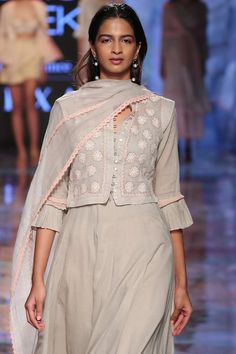 Buy Chikan Kamdani Anarkali Set by House of Kotwara at Aza Fashions Indian Attire, Indian Wear, Indian Dresses, Indian Outfits, Cotton Kurties, Blouse Designs High Neck, Beautiful Dress Designs, Boutique Maxi Dresses, Desi Wear