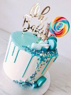 14th Birthday Cakes, Baby Boy Birthday Cake, Bithday Cake, Baby Boy Cakes, Baby Shower Cakes, 2nd Birthday, Blue Drip Cake, Cupcake Cake Designs, Candy Cakes