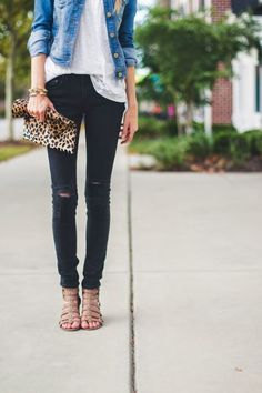 Distressed skinny black jeans, nude stripy sandals