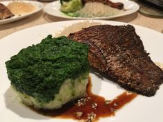Delicious Barramundi marinated in a light red wine vinegar, rock salt, oregano, rosemary, celery salt, raw sugar and lightly fried in rice bran oil, served with potato mash and blended English spinach with vermicelli - food glorious food