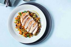 Dýňová caponata & pečená kuřecí prsa Grains, Pork, Rice, Meat, Kale Stir Fry, Pigs, Seeds, Korn