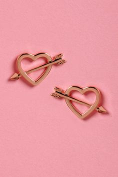 Shot Through the Heart Rose Gold Heart Earrings. $10 From LuLu's