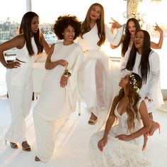 Kelly Rowland, Solange, Tina Knowles, Beyonce, Bianca Lawson, Angela Beyince at Ms. Knowles' wedding April 2015