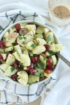 Creamy cool 10 minute cucumber grape salad with poppyseed dressing is the perfect combination of sweet and savory eaten as a snack or a side.