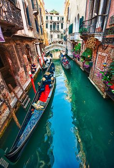 Canal Colors, Venice, Italy I think i love this because it looks so romantic