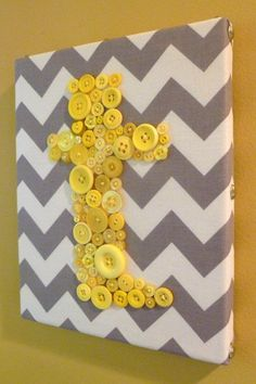 Button Wall Art - Gray & White Chevron w/yellow buttons