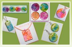 made using my polymer clay Tutorial Cabochon Pendants, Faux Dichroic jewelry