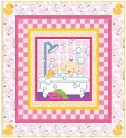 Salina Yoon Baby Bath in Pink Quilt by RJR