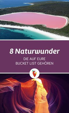 Eight natural wonders belonging to your bucket list- Acht Naturwunder die auf eure Bucket List gehören Here you will find listed the most beautiful natural wonders of the world. Holiday Destinations, Travel Destinations, Travel Around The World, Around The Worlds, Voyage Canada, Travel Tags, Voyage Europe, Europe Travel Tips, Romantic Travel