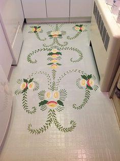 Nantucket Mermaid: Swedish Folk Art Hand Painted Floor
