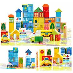 City Wooden Building Blocks Stacking Set Toys For Kids by Zhisheng You  62 wooden pieces. Assortment of sizes and shapes. Assortment of natural, painted and hand painted colours;Encourage?hands-on?exploration??uild?and?stack?for?limitless?fun;Non-toxic finishes and child safe materials;Comes?in?an?eco-friendly?bag?for?easy?storage;Recommended for ages 24 months and up City Wooden Building Blocks Stacking Set Toys For Kids         City Wooden Building Blocks Stacking Set Toys For Kids..