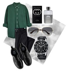 """Без названия #11"" by zuxrav on Polyvore featuring Ray-Ban, Gucci, Lands' End, Dr. Martens, mens, men, men's wear, mens wear, male и mens clothing"