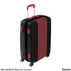 Red and Black Weave Luggage