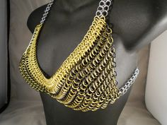 Stretchy Yellow Chainmail Bikini with Matching by CnTStretchys, $100.00