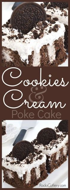 Try this amazing Oreo Creme poke cake for a dessert the whole family will love! Heavenly cookies and cream flavors make this easy poke cake a surefire hit. Oreo Pudding, Pudding Cake, Just Desserts, Delicious Desserts, Oreo Desserts, Awesome Desserts, Fancy Desserts, Holiday Desserts, Yummy Snacks