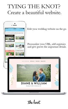 Build your own free wedding website with a customized look and feel. At the Knot, we give you all the tools you need to make your wedding site your own! Choose from a selection of beautiful designs and colors, integrate your registry and give your guests all the important details. Get started today.