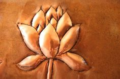 Hand-made hammered repousse in copper… Yoga Painting, Lotus Flower, Body Art, Copper, Creative, Artist, Silver Lining, Flowers, Pattern