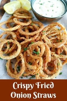 Crispy Fried Onion Straws are crispy, crunchy deliciousness in every bite! Seasoned, thin-sliced onions are pan fried to golden perfection. These are perfect as a snack, side, or top your favorite burger! Fried Onion Straws Recipe, Fried Onions Recipe, Camping Snacks, Gourmet Recipes, Appetizer Recipes, Cooking Recipes, Dinner Recipes, Pasta Recipes, Crockpot Recipes