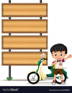 Thai boy and motorcycle by the roadsigns Vector Image School Board Decoration, School Decorations, Kids Background, Cartoon Background, Classroom Labels, Classroom Decor, Art Drawings For Kids, Art For Kids, Teachers Day Poster