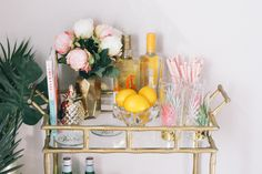 Gold bar cart, bar cart styling, summer bar cart - Lemon Blonde