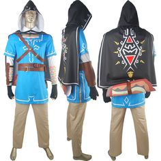 The Legend of Zelda Breath of the Wild Link Outfit Uniform With Cape Halloween Cosplay Costume