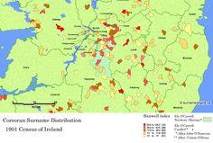 Corcoran Surname Frequency, Irish Midlands