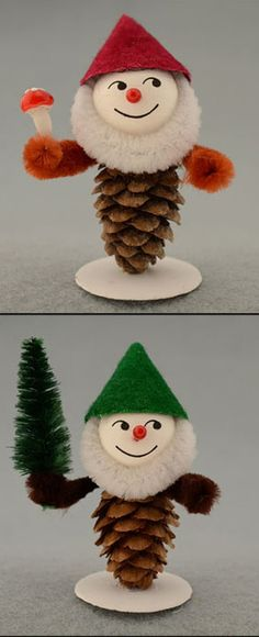 DIY Kit for making 4 pine cone Christmas gnomes from the Czech Republic Vintage Christmas Crafts, Etsy Christmas, Christmas Gnome, Vintage Ornaments, Christmas Projects, Handmade Christmas, Christmas Ornaments, Christmas Ideas, Snowflake Cards
