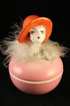 Vtg Antique Art Deco Rare Porcelain Feather Head Doll Powder Vanity Trinket Box