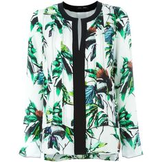 Proenza Schouler floral print blouse ($1,005) ❤ liked on Polyvore featuring tops, blouses, shirts, white, loose blouse, white shirt, long sleeve shirts, white blouse and loose shirts