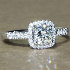 A Gorgeous Classic 1.9CT Asscher Cut Halo Russian Lab Diamond Ring with Diamond Accented Band. +++++++++++++++++++MOST PINS ON PINTEREST+++++++++++++++++++++ R
