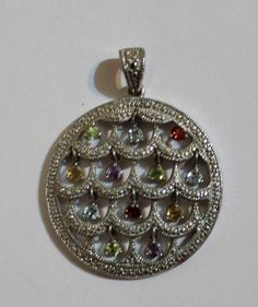 Sterling Silver Jeweled Dangle Round Pendant by onetime on Etsy, $10.25
