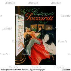 Vintage French Poster, Ristoranti Poster