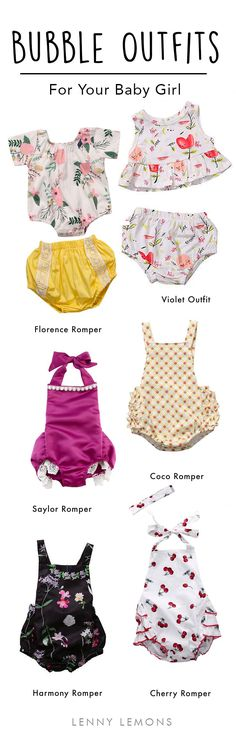 Sweet & Trendy outfit for your baby girl. Choose between these bubble outfits to choose the cutest romper for her next birthday. Summer fashion for baby girl.