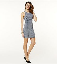 Just jeanious! This acid wash bodycon dress looks fabulous paired with wedges and a statement necklace.
