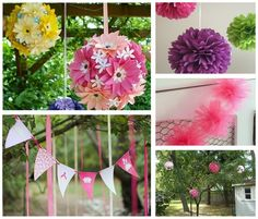 Use these OUTDOOR PRINCESS PARTY tips for Sophia's BDay party - especially liked the idea about a flower ball - could put it inside, or outside (on the trees)