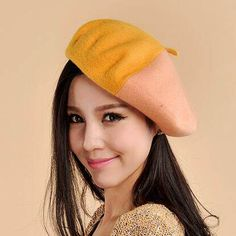 Splicing color block hat for women soft wool beret hats autumn. Wool BeretsBritish  StyleWinter WearHats ... 6189f12aee1e