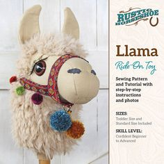Sew Toy This is my Llama Ride-On Toy, think stick horse / hobby horse.but as an adorable llama! I created this design in the fall of Released April 2017 in a Sewing Pattern Alpacas, Pdf Sewing Patterns, Print Patterns, Muñeca Diy, Sewing Projects, Projects To Try, Stick Horses, Hobbies For Women, Cheap Hobbies
