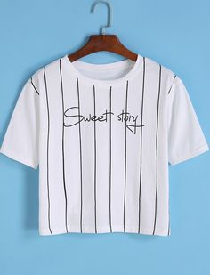 Letter Print Vertical Striped White T-shirt 7.90