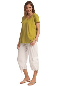 $25 Plus Size Pants, capri length in soft knit with cargo pockets image