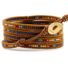 Chan Luu - Blue Mix Charm Wrap Bracelet on Henna Leather, $205.00 (http://www.chanluu.com/blue-mix-charm-wrap-bracelet-on-henna-leather/)
