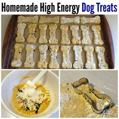 Try this homemade high energy dog treats recipe! Easy Dog Treat Recipes, Homemade Dog Treats, Pet Treats, Dog Food Recipes, Dog Cookies, Dog Biscuits, High Energy, Food To Make, Biscotti