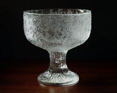Very Large 1970s Vintage Iittala Finland Puro Cast Glass Bowl / Centrepiece, Tapio Wirkkala 1977